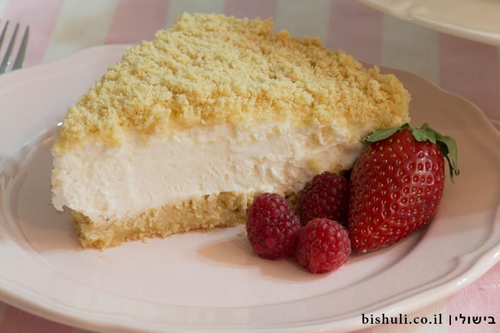 עוגת גבינה פירורים - מבט מקרוב