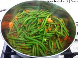 שעועית ירוקה פיקנטית - המשך בישול